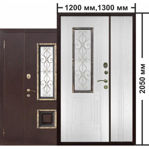 Искали, где купить Входная металлическая нестандартная дверь со стеклопакетом Венеция 1200 Белый ясень?