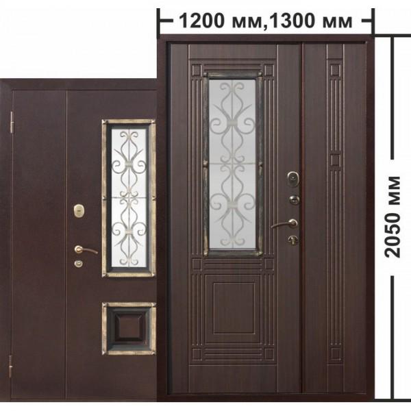 Искали, где купить Входная металлическая нестандартная дверь со стеклопакетом Венеция 1200 Венге?