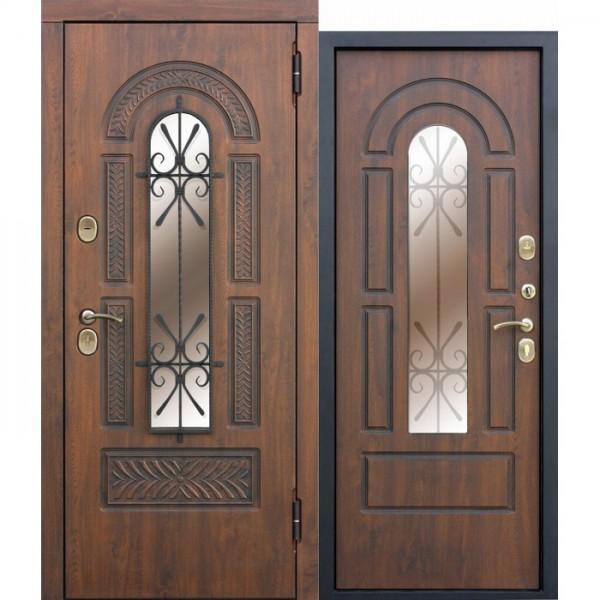Искали, где купить Входная металлическая дверь со стеклопакетом и ковкой Vikont?